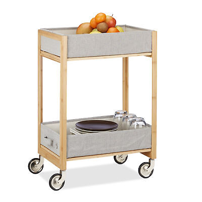 Rollwagen Bambus Teewagen Holz Servierwagen Küchenwagen Badregal Küchentrolley