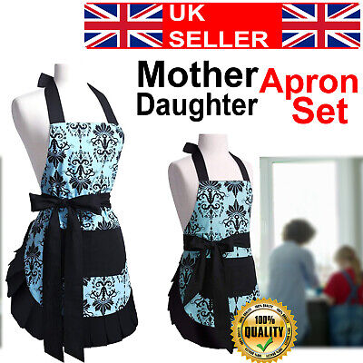 Mother Child Apron Kitchen Wear Cooking Apron Set for Wife Ladies Kid Girls Gown