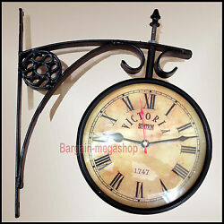 Vintage 1747 Victoria Train Railway Station Clock 2 Sided Battery Powered ra94
