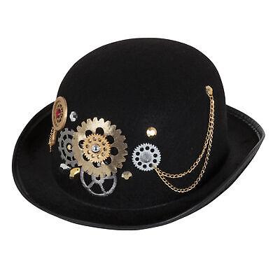 Steampunk Bowler Black Hat Brass Cogs Historical Adults Fancy Dress Accessory Vi