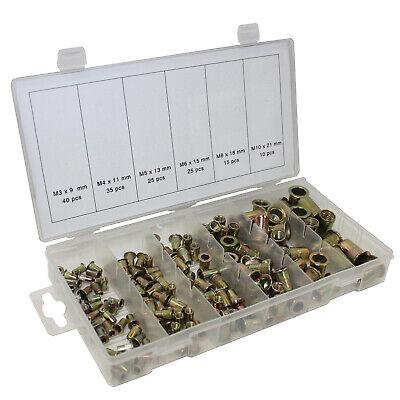 150pc Mixed Threaded Steel Rivet Nut Tool Kit Insert Zinc Plated M3 M4 M5 M6 M8