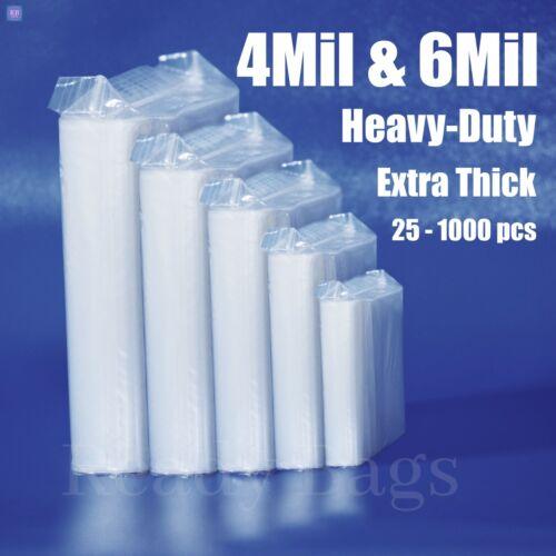 Clear Zip Lock Reclosable Bags 4-Mil HEAVY-DUTY 6-mil Plastic Zipper Seal Bags