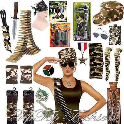 ARMEE DAMEN/HERREN VERKLEIDUNG KOSTÜM ZUBEHÖR HEN STAG NACHT MILITÄR (Militär Kostüm Zubehör)
