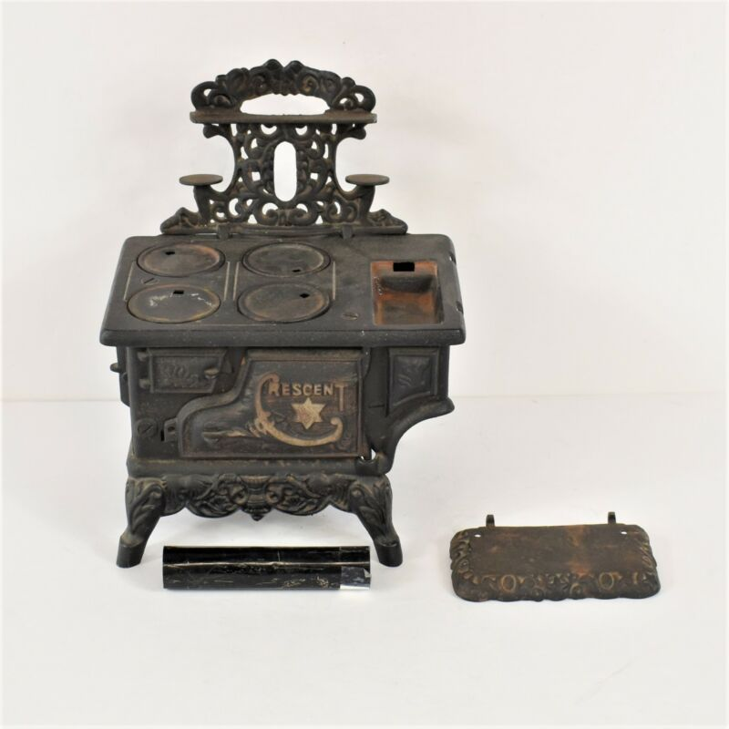 Vintage  Small Mini Cresent Brand Wood Burning Replica Cast Iron Stove Preowned