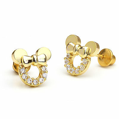 14k Gold Plated Mouse Children Screwback Baby Girls Earrings
