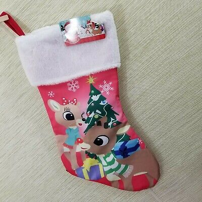 "Rudolph The Red Nosed Reindeer and Clarice 17.5"" Christmas Stocking New"