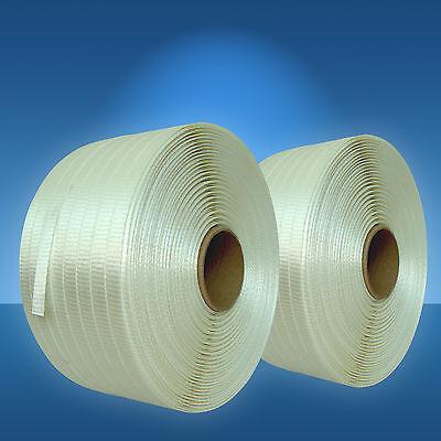 2 x 600 m 19 mm Textilband gewebt, Umreifungsband, Kraftband für Holzbündelgerät