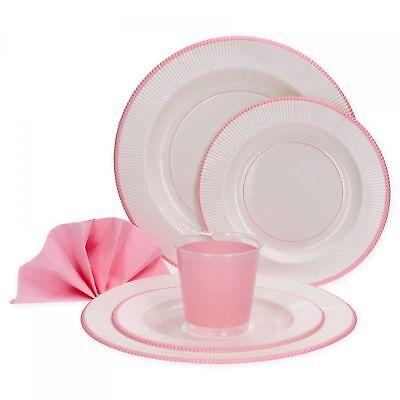 rosa weiß 8 Personen Party Set Pappteller Becher Servietten (Rosa Becher)