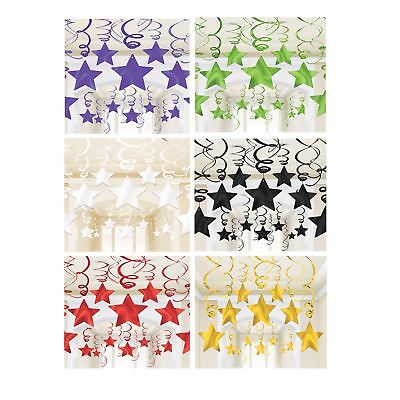 30 Metallic Star Swirls Hanging Decorations Kit Room Party Ceiling Birthday Kids - Christmas Hanging Ceiling Decorations