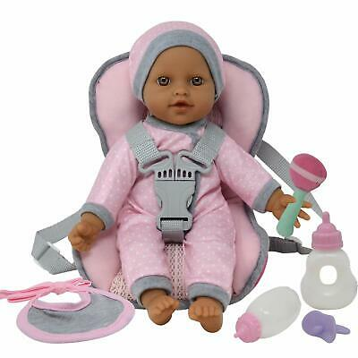 Doll Travel PlaySet - Baby Doll Car Seat Carrier Backpack with 12 Inch Doll