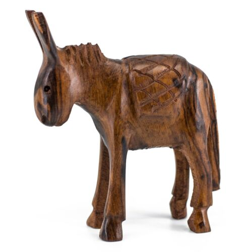 """Unique Hand Carved Ironwood Donkey Burro Mule Figurine Wood Carving 3.75"""" High"""