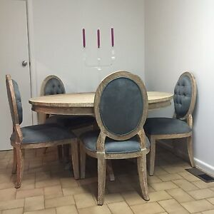100% solid recycled teak dining table and grry suede chairs RRP $4,120 Brighton Bayside Area Preview