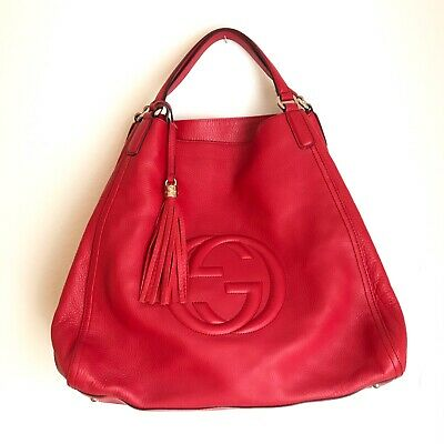 NEW Authentic vintage GUCCI Leather Large Soho Shoulder Bag Red