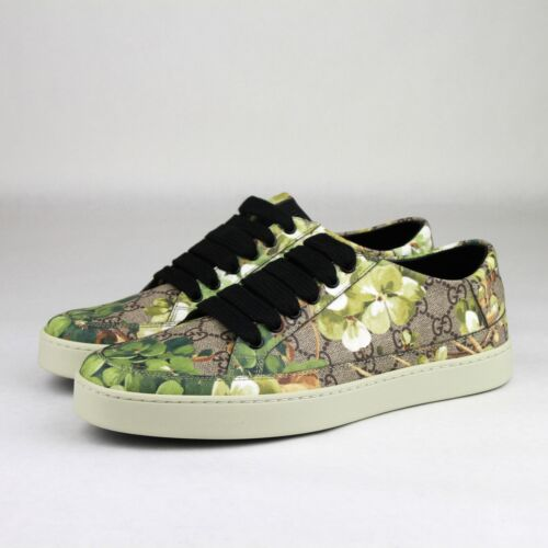 0378c9277af0f1 Мужская спортивная обувь Gucci Supreme GG Canvas Bloom Print Green Flower  Sneaker Shoes 407343 8960
