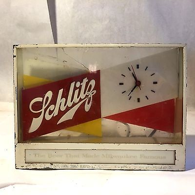 Vtg Advertising Schlitz Brewing Beer Bar Light Clock 1955 Metal Plastic Lucite