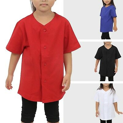- KIDS Button down Baseball Jersey Solid T Shirts Boys Girl Baby Casual Family Tee