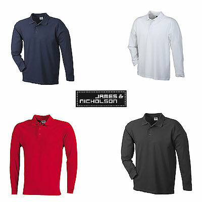 Pique Langarm Polo-shirt (Polo Pique Heavy Longsleeved Langarm Polo Shirt Herren JN022 James & Nicholson)
