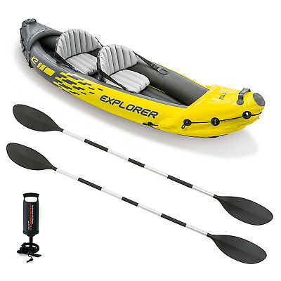 2019 Intex K2 Explorer Kayak Two Man Inflatable Canoe Boat + Oars + Pump #68307