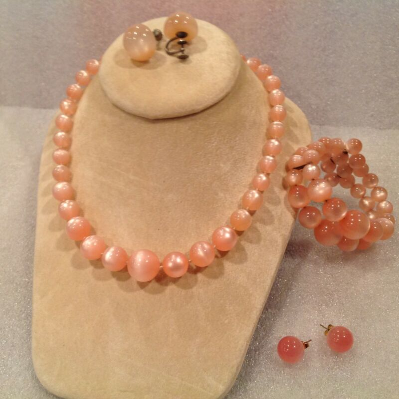 Mid century pink moon glow knotted necklace bracelet Richelieu sterling earrings