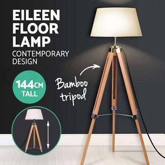 Modern Vintage Retro Floor Lamp Bamboo Tripod Linen Shade