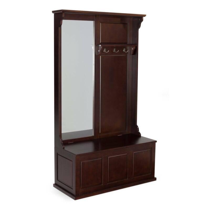 Espresso Finish Wooden Hall Tree Mirror Coat Rack Storage Stand Bench Hat Hooks