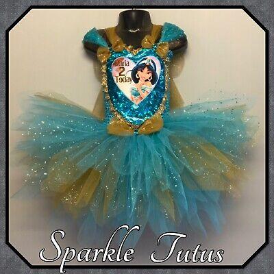 Princess Jasmine Inspired Outfit (Girls Personalised Princess Jasmine Inspired Tutu Fancy Dress Birthday)