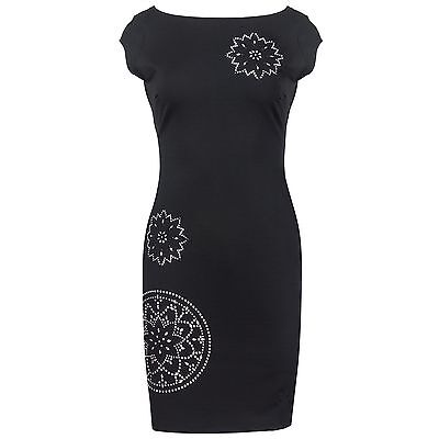 Desigual Damen Kleid Kleine Schwarze Tailliert Nieten-Besatz Rücken-Ausschnitt