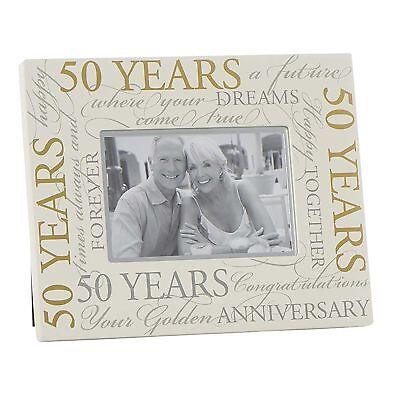 50th Wedding Anniversary Photo Frames - Cream 6' x 4' Photo Frame with Gold Script - 50th Wedding Anniversary