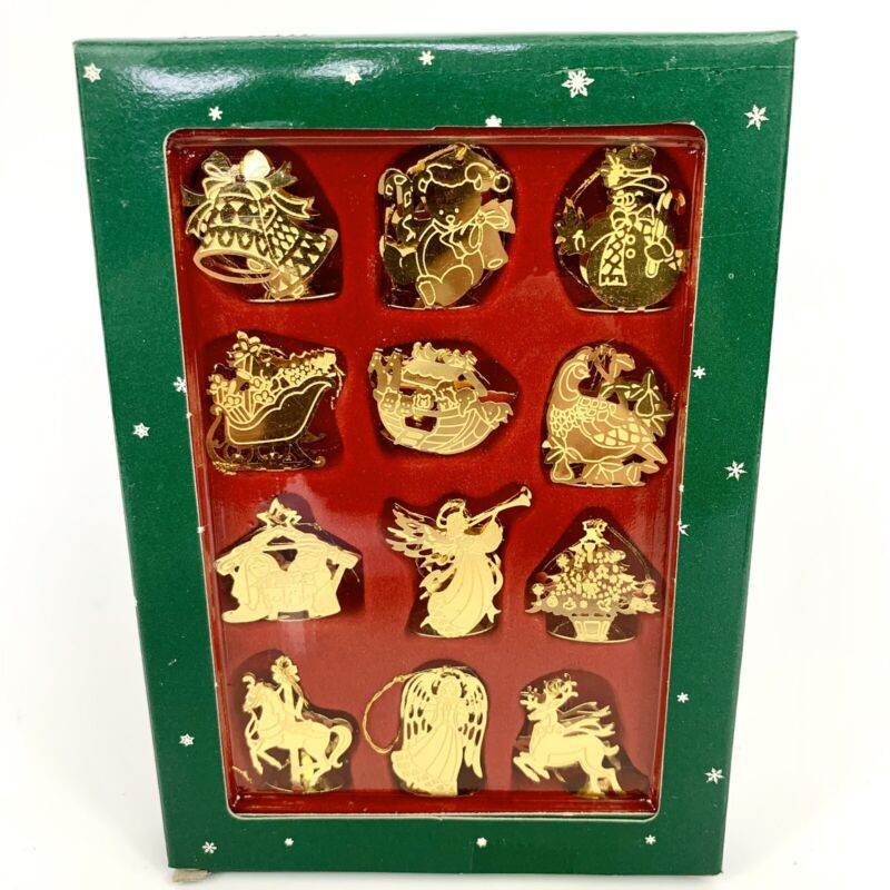 12 Miniature Brass Christmas Ornaments Etched 2 Sided Standing 3D Vintage NIP