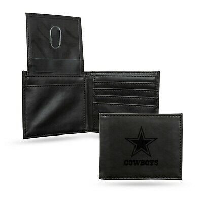 Dallas Cowboys Black Laser Engraved Synthetic Leather Billfold Wallet NWT