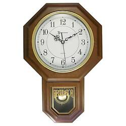 Essex Pendulum Wall Clock Brown/Brass - TimeKeeper®