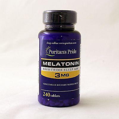 Puritans Pride Melatonin 3 Mg 240 Tablets Sleep Aid Free Shipping 2 X 120