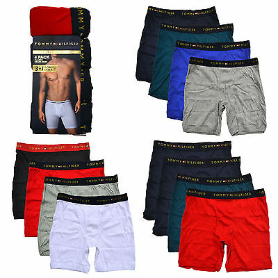 Tommy Hilfiger Boxer Briefs Mens 4 Pack Underwear Elastic Waistband Solid New
