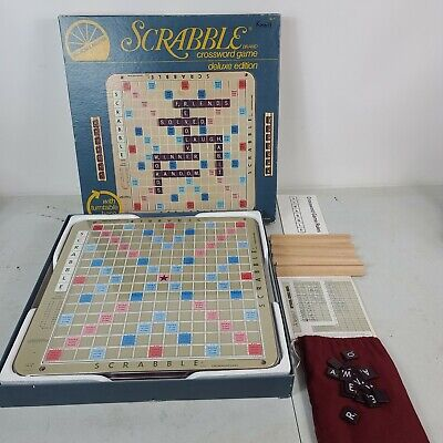 Scrabble Deluxe Edition Game & Turntable Selchow & Righter 1977 Crossword USA