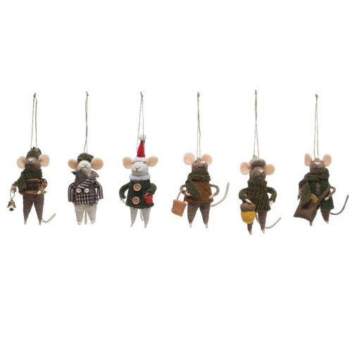 """Set/6 4.75"""" Felted Mice Mouse Animal Christmas Tree Ornaments Holiday Home Decor"""