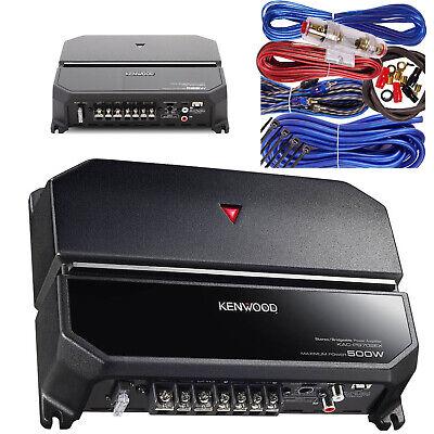 Kenwood Power Amp 500W 2-Kanal Class-AB 2-Ohm Stabiler Bass Autoverstärker + 8 Ga Kit