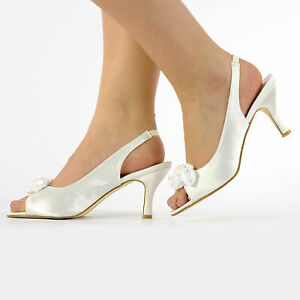 IVORY OR WHITE SATIN LOW HEEL BRIDAL PROM PARTY BRIDESMAID SANDAL SHOES SIZE 3-8