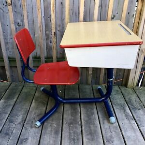Vintage School Desk With Chair and Storage