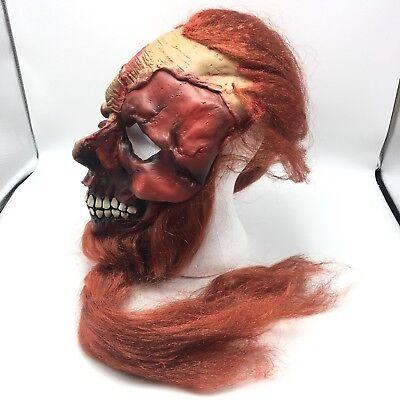 Red Beard Pirate Skull Mask Burnt Face Halloween Costume Latex Full Hair 17216-B (Red Beard Halloween Costume)