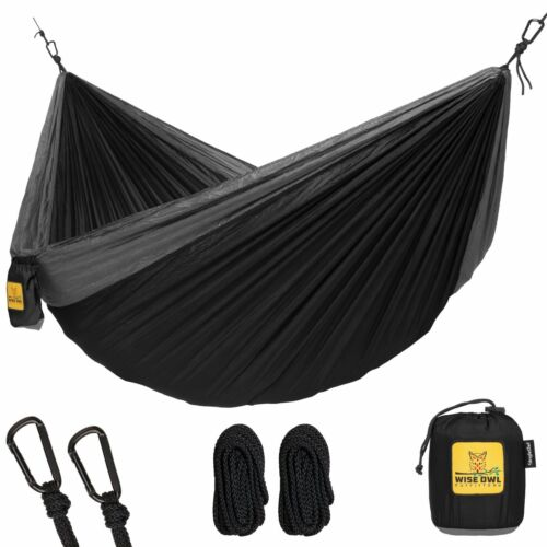 Wise Owl Outfitters Single 1-Person Camping Hammock Black & Grey New