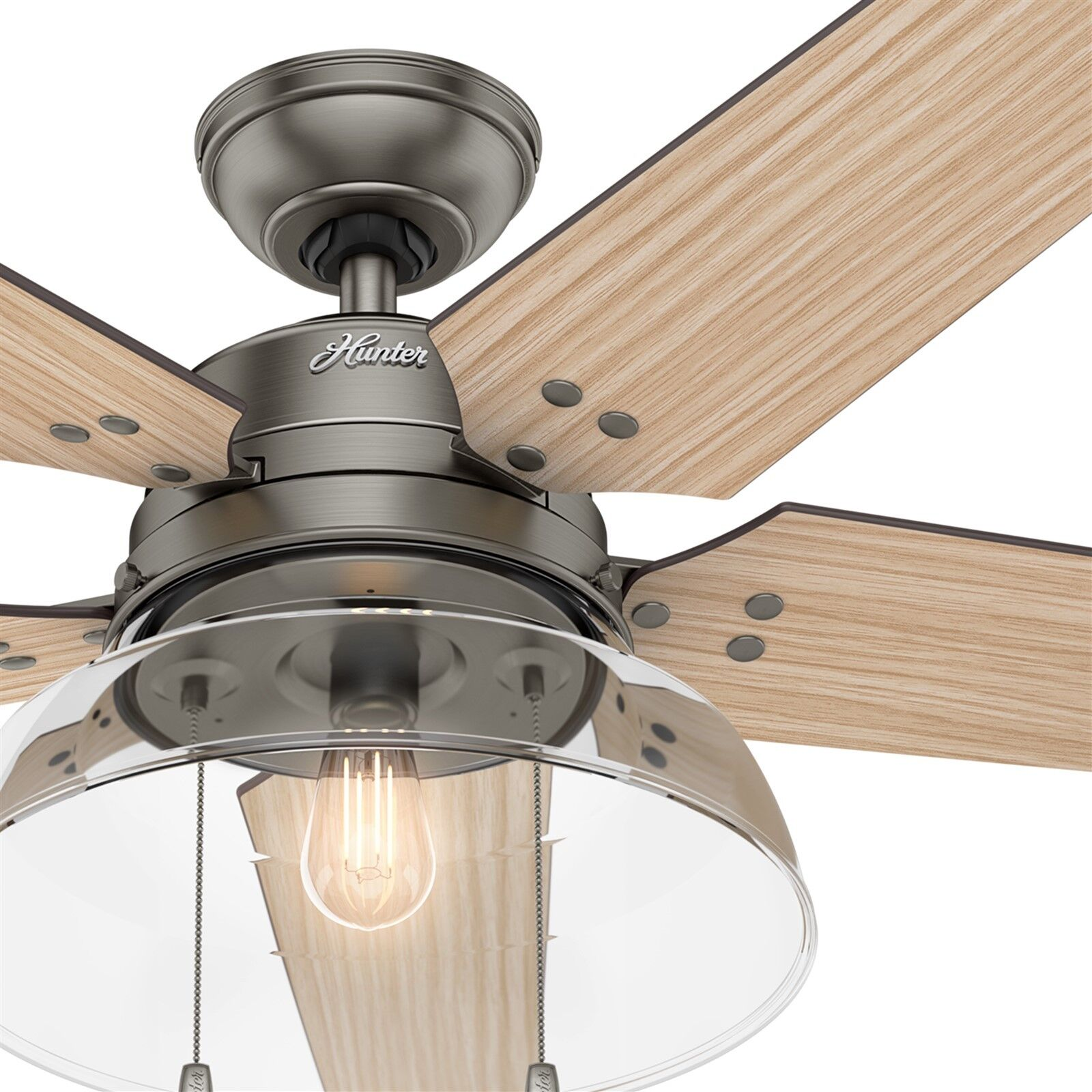 Hunter Fan Company Hunter 59211 52 Sentinel Ceiling Fan With Light And Remote Brushed Slate Ceiling Fans