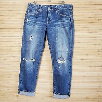 AG adriano goldschmied Ex-Boyfriend Slim Slouchy Cropped Jeans Distressed 28