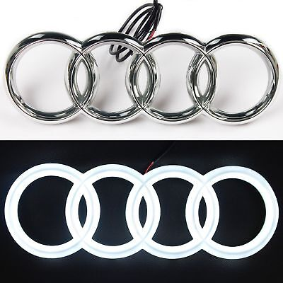 Audi S3 A3 A4 RS3 A6 A5 Chrome LED White Light Front Grille Emblem Logo Badge