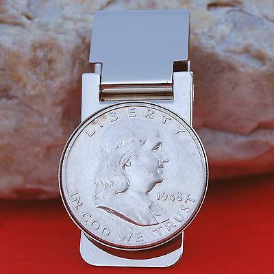 US 1948 FRANKLIN HALF DOLLAR 90 SILVER COIN HINGED MONEY CLIP NEW