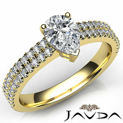 Pear Cut 100% Natural Diamond Engagement French Set Pave Ring GIA G VVS2 1 Ct