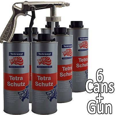 Tetrosyl Tetraschutz Shutz Body Rust Protector Underseal Spray 6 x 1ltr + Gun