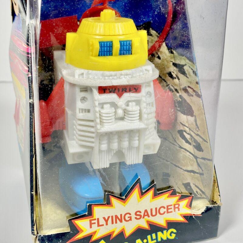 Rare HTF Ding-A-Ling Flying Saucer Robot NIB Instructions 1970
