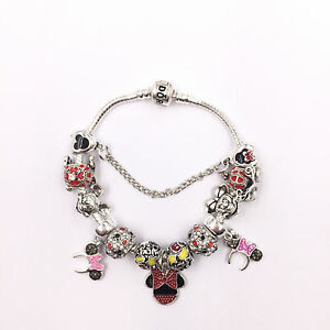 Disney Mickey and Minnie Mouse Pandora Charm Bracelet & Charms Hen Bridesmaid