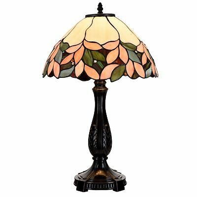 Tiffany Style Table Lamp Victorian Stained Tumbler Desk Lamp Floral Home Decor