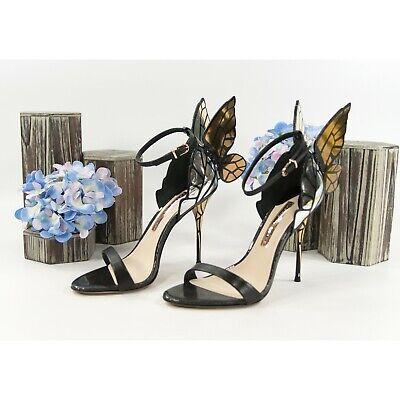 Sophia Webster Chiara Black Gold Metallic Leather Butterfly Heels Size 37 7 NIB